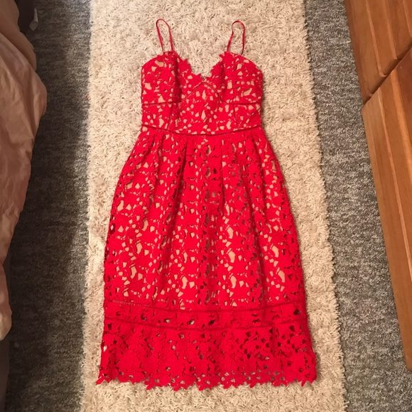 Dresses Red Crochet Lace Midi Dress Wedding Guest Dress Poshmark